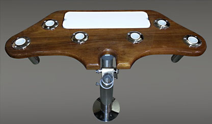 Teak Roacket Launcher with cup holders