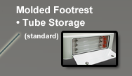 Leaning Post Molded Footrest and Tube Storage